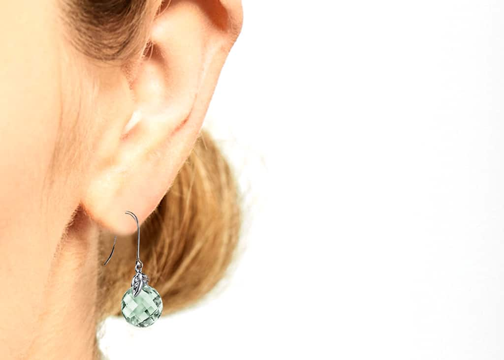 Green Amethyst Earrings with a Model